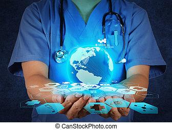 concept, réseau, elle, docteur, monde médical, tenant mains, globe mondial