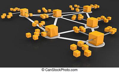 concept, réseau, equipes affaires