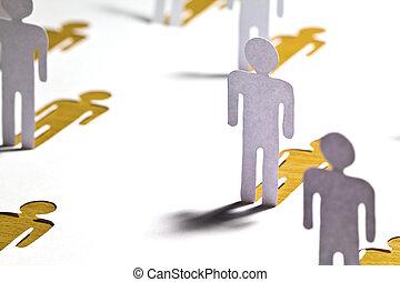 concept, réseau, gens, bois, haut, couper papier, social, fin, :, table, dehors