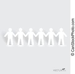 concept, réseau, gens, papier, coupure, vecteur, social, :, ...