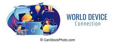 concept, réseau, global, header., connexion, bannière