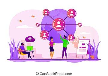 concept, réseau, global, illustration, connexion, vecteur