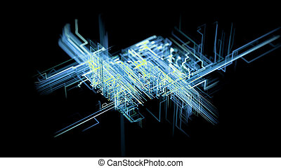 concept, réseau, grand, numérique, artificiel, connections., connectivité, intelligence, croissant, données