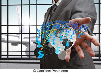 concept, réseau, icones affaires, main, social, spectacles, homme