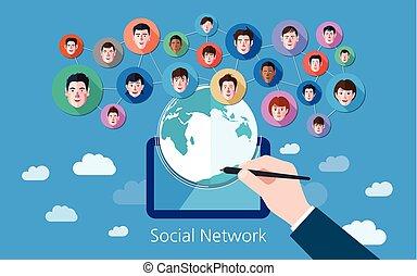 concept, réseau, média, illustration, vecteur, social