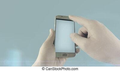 concept, réseau, mobile, arrière-plan., social, visualisation, blanc, plan, devices., spectacles