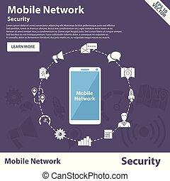 concept, réseau, mobile, vecteur, conception, gabarit, sécurité, bannière