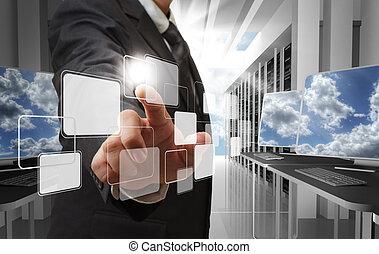 concept, réseau, nuage