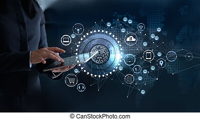 concept, réseau, omni, connexion globale, communications, toucher, femme, canal