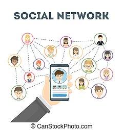 concept., réseau, social