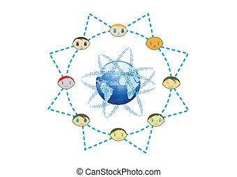 concept, réseau, soleil, global, illustration, vecteur, amis