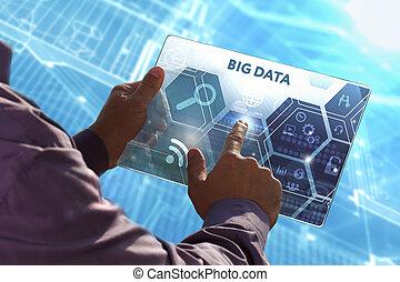 concept, réseau, tablette, grand, jeune, virtuel, business, fonctionnement, avenir, internet, screen:, technologie, business, données, sélectionner, homme