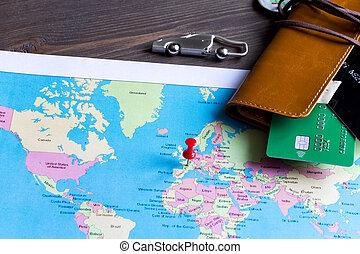 concept, réservation, assurance voyage, sur, bois, fond