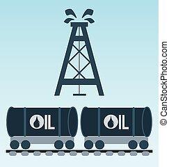 concept., réservoir pétrole, chemin fer, icon.