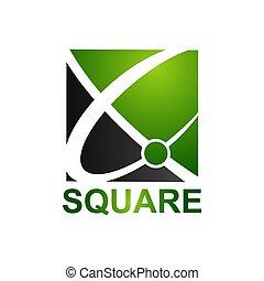 concept, résumé, carrée, vert, gabarit, logo, conception, noir