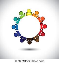 concept, résumé, communauté, planification, enfants, gestion, groupe, &, soutien, -, stratégie, jardin enfants, aussi, vector., étudiants, pré-école, unité, gosses, réunion, représente, graphique, ceci, ou, jouer, apprentissage