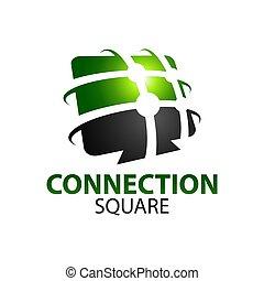 concept, résumé, connexion, carrée, vert, gabarit, logo, conception, noir