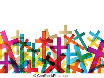 concept, résumé, croix, christianisme, religion, vecteur,...