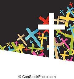 concept, résumé, croix, christianisme, religion, vecteur, fond
