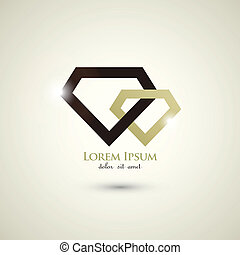 concept, résumé, diamant, luxe, gabarit, logo