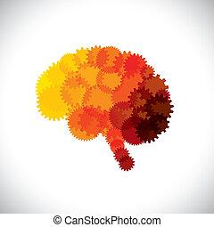 concept, résumé, esprit, cerveau, vecteur, roues dentées, ou, icône