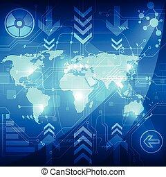 concept, résumé, global, illustration, fond, vecteur, technologie