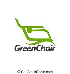 concept, résumé, illustration, vert, gabarit, logo, conception, chaise