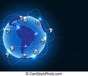 concept, résumé, métal, connexion, fond, la terre