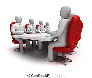 concept, réunion, business, 3d