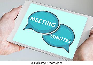 concept, réunion, minutes