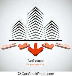 Concept real estate for your business. Vector background. Best choice