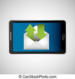 concept, recevoir, envoyer, message, email, icône