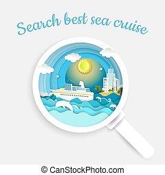 concept, recherche, coupure, vecteur, papier, illustration, mer, croisière