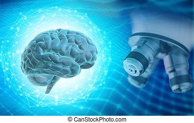 concept, recherche, neuroscience, illustration, 3d