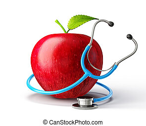 red apple - concept red apple with stethoscope on white