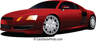 Concept red car coupe on the road.