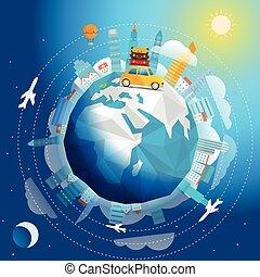 concept, reizen, illustratie, reis, vector, auto., wereld, door