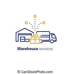 concept, relocalisation, livraison, icône, camion, services, expédition, entrepôt, distribution, ordre