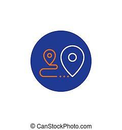 concept, relocalisation, services livraison, expédition, icône, distribution, ordre