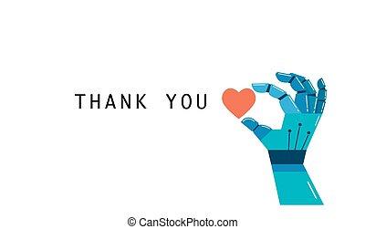 concept, remercier, coeur, main, robotique, vous