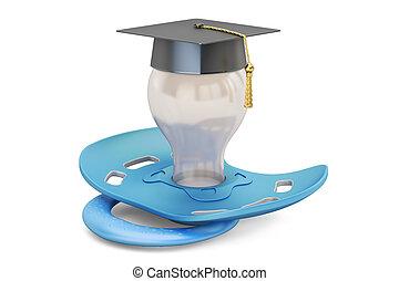concept, remise de diplomes, rendre, cap., tétines, bébé, education, 3d