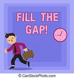 concept, remplir, disparu, texte, solution, gap., puzzle., signification, partie, droit, mettre, endroit, écriture, écriture, sien, il
