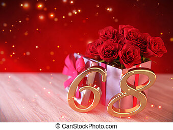 concept, render, cadeau, bois, roses, desk., anniversaire, ...