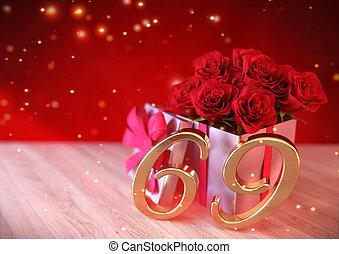 concept, render, cadeau, roses, bois, sixty-nineth., desk., ...