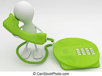 concept, render, conversation, téléphone., vert, 3d