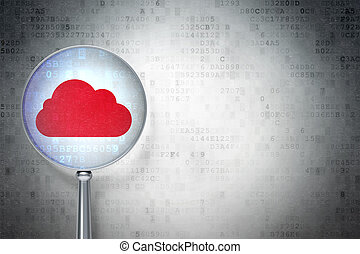 concept:, render, copyspace, carte, calculer, texte, loupe, fond, nuage, numérique, optique, icône, publicité, vide, 3d