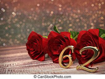 concept, render, roses, bois, 62nd., desk., anniversaire, ...
