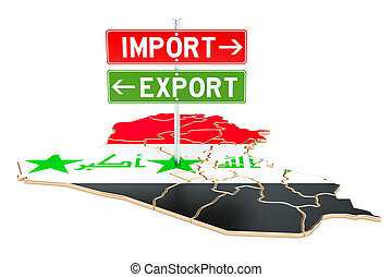 concept, rendre, exportation, importation, irak, 3d