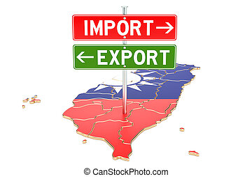 concept, rendre, exportation, importation, taiwan, 3d