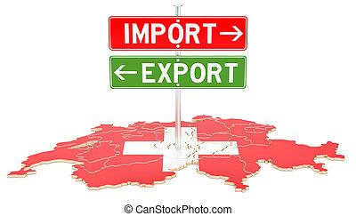 concept, rendre, exportation, suisse, importation, 3d